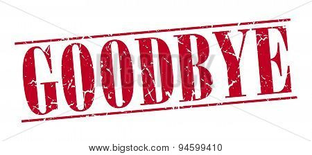 Goodbye Red Grunge Vintage Stamp Isolated On White Background