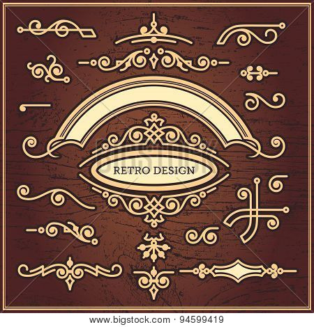 Set Of Decorative Elements In Vintage Style For Design