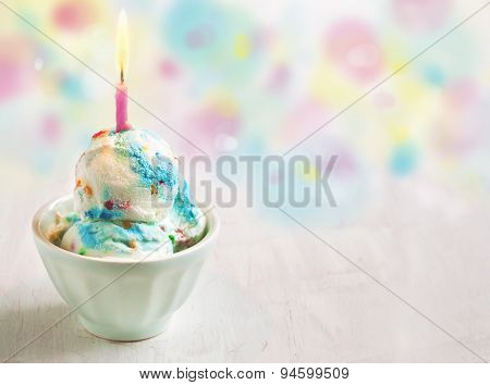 Birthday Cake Ice Cream Decorated With Candle