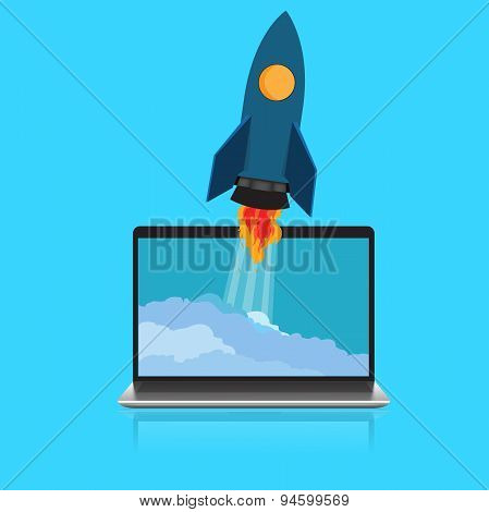 Start, up, rocket, laptop