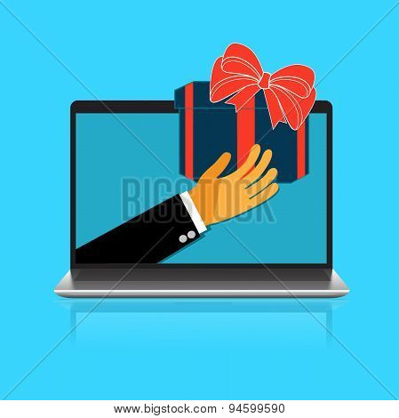 hand, laptop, gift, delivery
