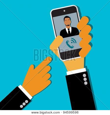 businessman calling of cell phone, hands, vector,