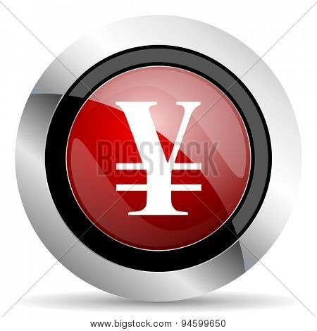 yen red glossy web icon original modern design for web and mobile app on white background