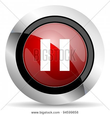 pause red glossy web icon original modern design for web and mobile app on white background