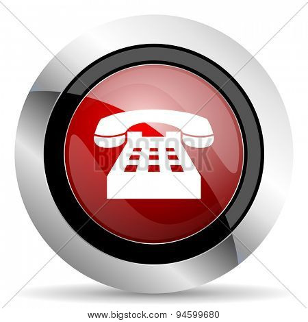 phone red glossy web icon original modern design for web and mobile app on white background