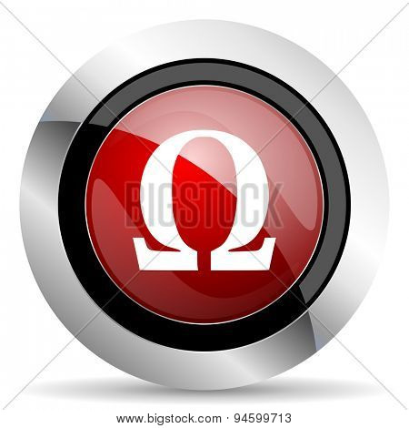 omega red glossy web icon original modern design for web and mobile app on white background