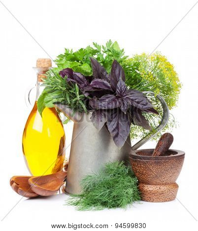 Fresh garden herbs and spices. Isolated on white background