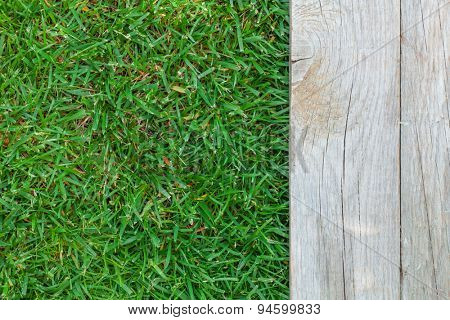 Wooden floor with green grass background. Top view