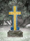 picture of cemetery  - Old weathered gravestone in the cemetery  - JPG