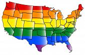 image of united states map  - United states map with States covered with LGBT flag colors - JPG