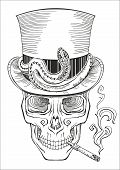 picture of top-hat  - cool looking smoking human skull in a top hat baron samedi - JPG