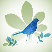foto of robin bird  - Grunge bird with leaves - JPG