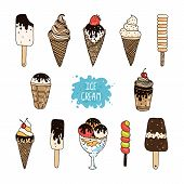 stock photo of ice cream sundaes  - Vector collection of hand drawn ice cream - JPG