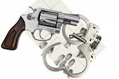 stock photo of handcuffs  - Gun with handcuffs and fingerprint ID for criminal arrest - JPG