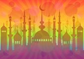 image of eid al adha  - Colorful card with mosque for greeting with beginning of fasting month Ramadan as well with Islamic holiday Eid al - JPG