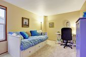 stock photo of nice house  - Nice carpet office room with desk and couch - JPG