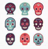 picture of day dead skull  - colorful patterned skull set - JPG