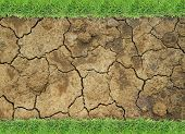 foto of dry grass  - Dry soil texture or background with green grass border - JPG