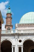 pic of vicenza  - Perspective of the famous Clock Tower of Vicenza with the Palladian Basilica and its typical statues - JPG