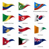 pic of flags world  - Set  Flags of world sovereign states triangular shaped - JPG