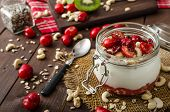 picture of wonderful  - Domestic cherry yogurt with wonder chia seeds and granula - JPG