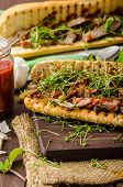 image of cheese-steak  - Steak sandwich with herbs lime and microgreens with little bit kick of hot sriracha souce - JPG