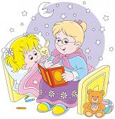 stock photo of babysitting  - Grandmother reading aloud a book of fairy tales to her grandchild lying in her bed - JPG
