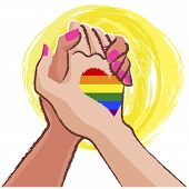 stock photo of gay flag  - LGBT concept with Rainbow gay pride flag in the background - JPG