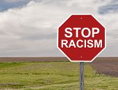stock photo of stop hate  - Stop Sign For Halting Racism In The World - JPG