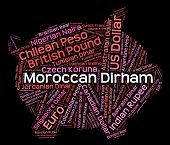 stock photo of dirham  - Moroccan Dirham Representing Exchange Rate And Market - JPG