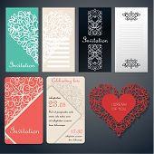 foto of swirly  - Set of invinanion cards with swirly paper decor on red - JPG