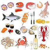 ������, ������: Seafood Icons Set