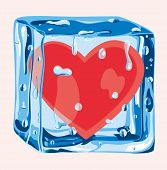 foto of surreal  - In this surreal illustration the solitude is represented as a heart immersed in an ice cube - JPG
