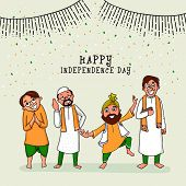 pic of indian independence day  - Happy men of different religion showing Unity in Diversity on national flag confetti decorated background for Indian Independence Day celebration - JPG