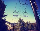 stock photo of boise  -  Empty chairlift in ski resort - JPG