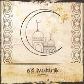 pic of eid festival celebration  - Illustration of hand drawn mosque on crescent moon on grungy background for Muslim community festival - JPG