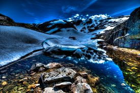 pic of nightfall  - Folgefonna mountain glacier reflected in the water - JPG