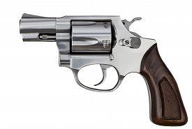 picture of handgun  - Pistol Revolver Handgun Firearm Isolated On White Background - JPG