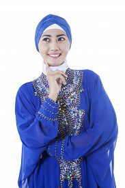 stock photo of muslim  - Portrait of attractive muslim woman wearing islamic clothes - JPG