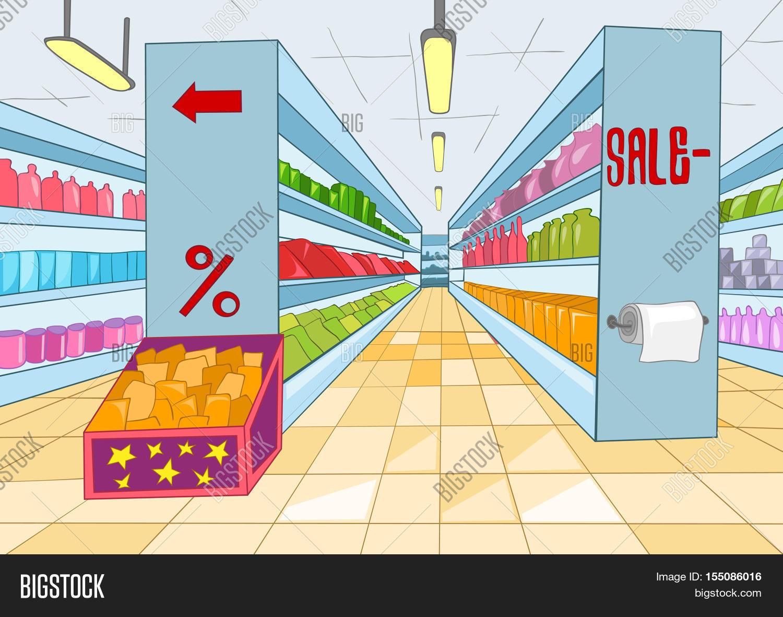 Hand drawn cartoon of supermarket interior. Colourful cartoon of ...
