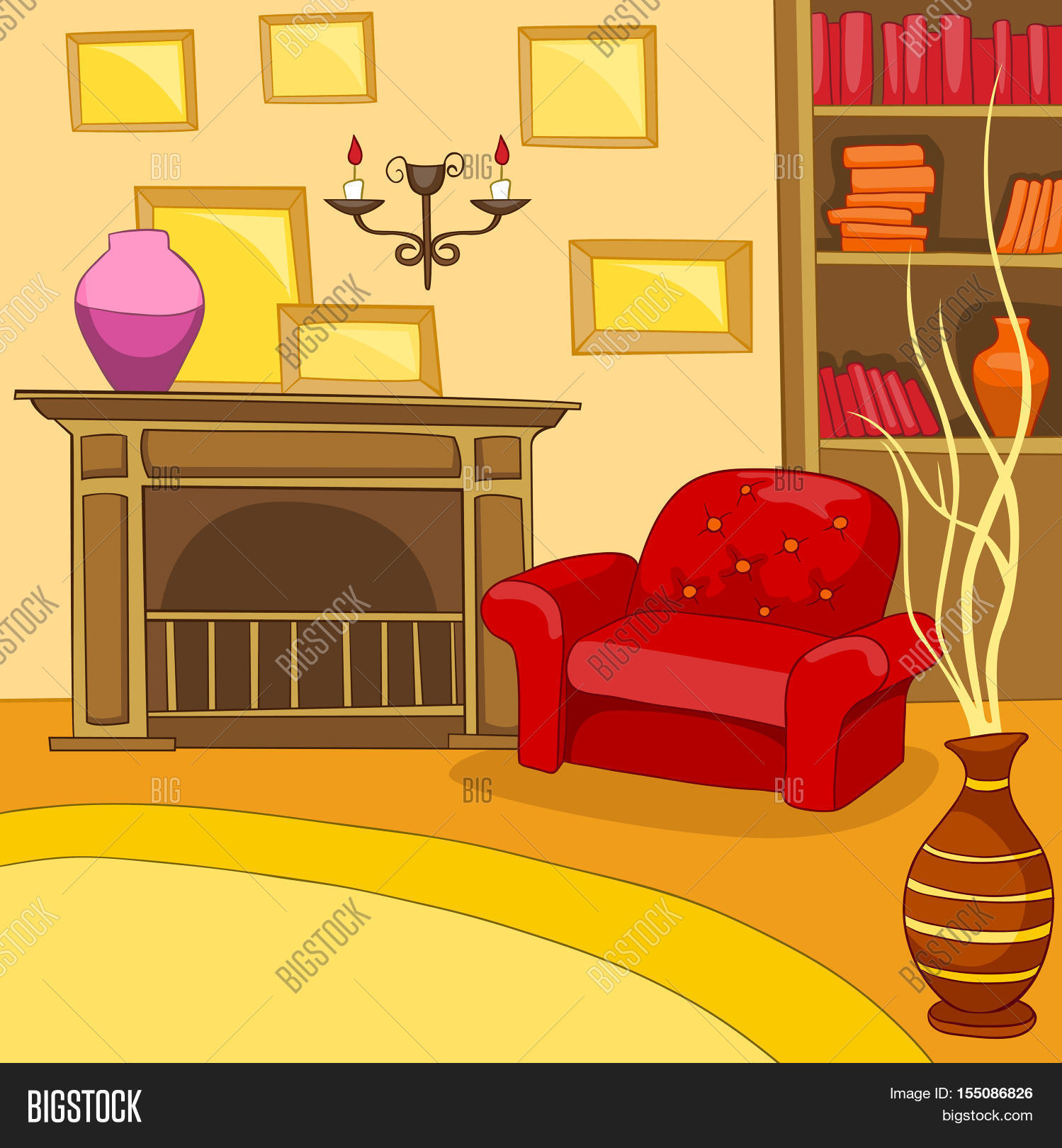 hand drawn cartoon of living room colourful cartoon