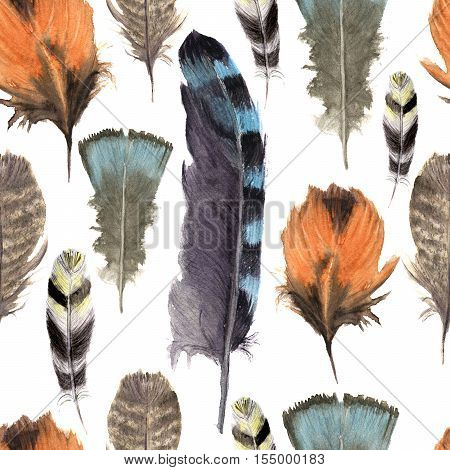 Hand drawn watercolor vibrant feather seamless pattern. Boho feather style. Illustration isolated on white. Bird feather fly design for print, textile, background. Rustic feather. Bright color