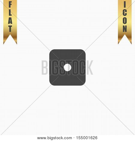 One dices - side with 1. Flat Icon. Vector illustration grey symbol on white background with gold ribbon