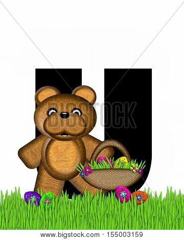 Alphabet Teddy Hunting Easter Eggs U