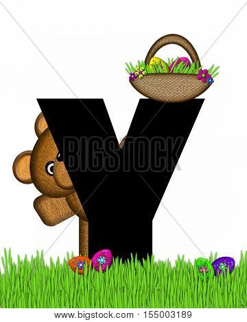 Alphabet Teddy Hunting Easter Eggs Y
