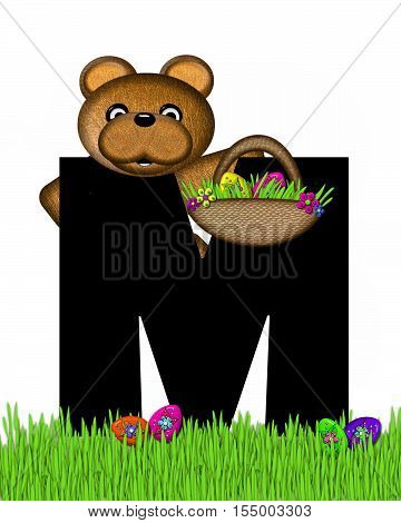 Alphabet Teddy Hunting Easter Eggs M