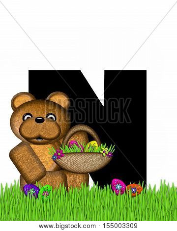 Alphabet Teddy Hunting Easter Eggs N