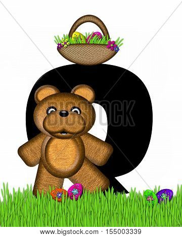 Alphabet Teddy Hunting Easter Eggs Q
