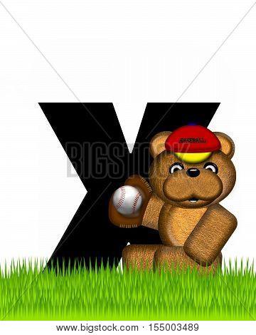 Alphabet Teddy Baseball X