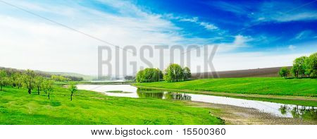 Lake, green grass, blue sky